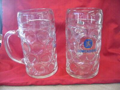 Set of 2 Large Lowenbrau 1 Liter Dimpled Glass Beer Stein Mug #3447