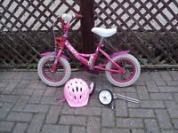 bike for little girl includes stabilisers and helmet all good condition 12 inch wheels