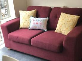 DFS settee in Mulberry colour