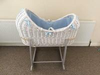 Clair De Lune Moses Basket With Stand & Mattress In Excellent Like New Condition Only 5 Weeks Old