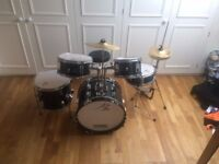 Junior Drum Kit - Performance Percusussion black 5 piece - almost new
