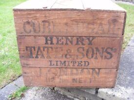 Genuine Vintage Henry Tate & Sons British Sugar Crate Storage Wooden Box Antique