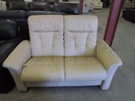 Leather 2 Seater Cream Sofa (Reclining on one side only)