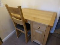 Single Solid Oak Desk with cupboard, drawer and computer keyboard drawer and Chair