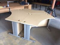 Three Light Oak Angled Desks