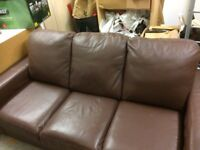 Faux Leather 3 seater Brown sofa