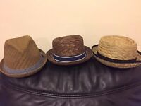 3 Straw Hats in Great Condition, Vintage Fancy Dress Hats, Pork Pie Hats, Bowler Hats, Straw Fedora