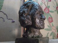Handsome vintage bust of gentleman very nice primative piece with a strong look unique handmade