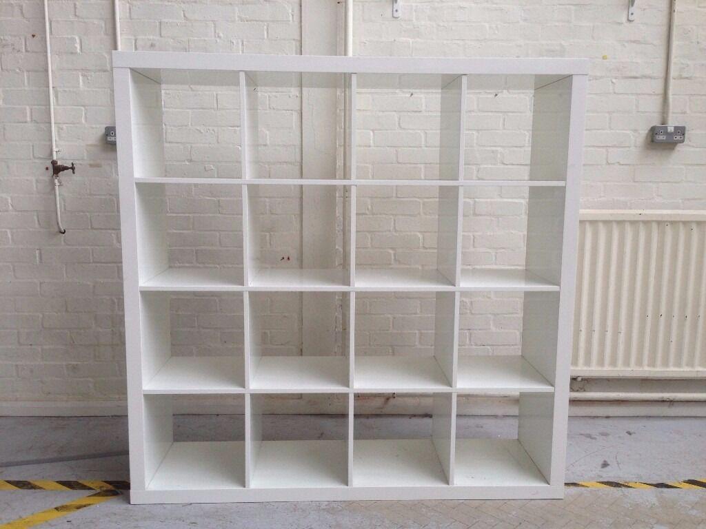ikea kallax hi gloss white 16 modular shelving unit room divider in portslade east sussex. Black Bedroom Furniture Sets. Home Design Ideas