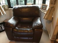 Three piece full leather /electric recliner suite