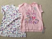 Girls unicorn tops age 4-5 years