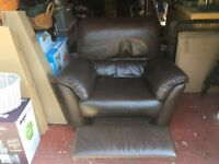 Natuzzi Leather Reclining Armchair - Chocolate Brown