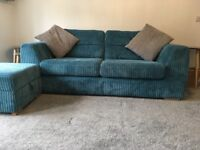 Sofa chair and footstool( 3 seater -teal)