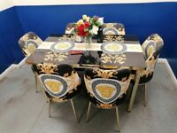 😍UNBELIEVABLE VERSACE💥 EXTENDABLE DINING TABLE AND 6 FABRIC CHAIRS WITH DELIVERY OPTIONS