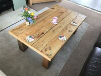 Rustic Coffee Table made from reclaimed pallets, sanded and sealed. Length:118cm Width:68cm Ht:40cm