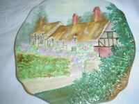 VINTAGE ANNE HATHAWAY COTTAGE EMBOSSED DECORATIVE PLATE