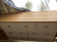 Oak top wide chest of drawers