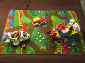 Bundle of toys - Airplane, Pirate Ship, Fire engine & play rug.