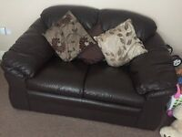 Brown leather 3 peice suite