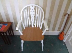 Lovely pine/white carver chair