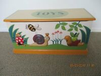 painted wooden toy box