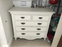 White French-style Chest of Drawers and Wardrobe Set