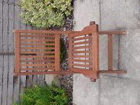 Hardwood folding garden chair in good condition just has a little piece out of leg, shown in photo.