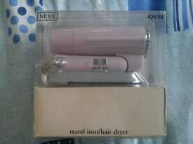 Travel iron/hairdryer new
