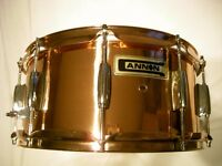 "Cannon copper snare drum 14 x 6 1/2"" - '90s - NOS - High end model"