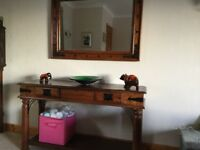 Wooden console table with matching mirror