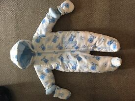 Blue and white teddy bear snowsuit age 3-6 months