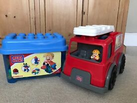 Mega Bloks Fire Engine and Mega Bloks 50p Tub