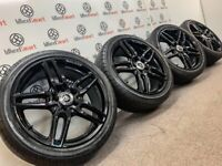 "GENUINE 18"" MERCEDES AMG A CLASS/CLA AMG ALLOY WHEELS & TYRES- 5 x 112 - GLOSS BLACK"