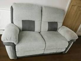 Grey fabric recliner sofa