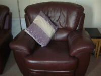 Brown Leather Sofa and 2 Armchairs for sale