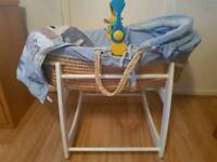 Baby boy Moses basket for sale
