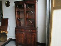 MAHOGANY TWO DRAWER SIDEBOARD WITH UPPER MAHOGANY GLASS FRONTED BOOKCASE WITH KEYS FREE DELIVERY