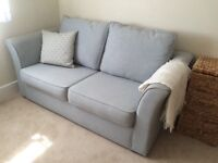 Sofa bed in duck egg fabric