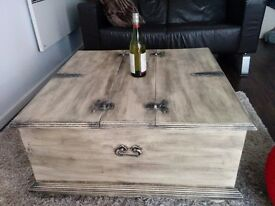 Handmade solid wood coffee table, industrial / rustic / vintage look.