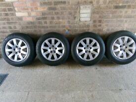 VW Alloy wheel's excellent condition + Tyres 8mm tread. 5x112, Audi, Skoda, Caddy, T4, transporter