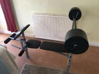 Weights bench, weights and bar