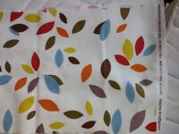 Curtain fabric 3.6m/140cm wide 100% cotton John Lewis 'Scattered leaves' design. New and on roll.