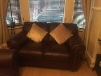 2 and 3 seater leather setee