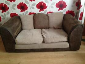 Two seater brown and beige sofa NEED GONE ASAP