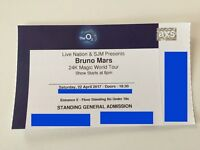 1 x Bruno Mars Standing Ticket. Saturday 22nd April. O2 Arena