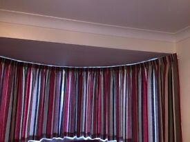 Red/black/cream striped, lined, pencil pleat curtains purchased from John Lewis