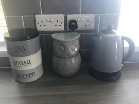 Kettle, toaster, sugar/tea/coffee holder, glass own biscuit jar