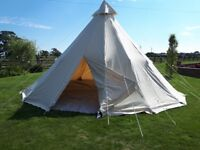 Canvas Tipi/Bell Tent, 5.8m diameter, 3.4m tall.