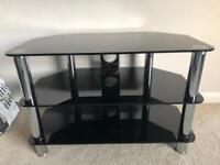 Immaculate Black Glass TV Stand Corner Unit 80cm wide