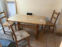 Solid wood Dining table and 3 chairs
